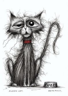 The line work for the cats fur is so awesome! ~ Scraggly cat in search of a good home - original ink drawing by Keith Mills on Folksy Ink Drawings, Animal Drawings, Regard Animal, Image Chat, Illustration Art, Illustrations, Cartoon Sketches, Happy Paintings, Fluffy Cat