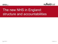 The Nuffield Trust's slidepack gives an overview of the new structure of the NHS in England, with a focus on the main changes to management, accountability and funding structures resulting from the Act.
