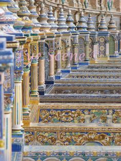 Pillar conical glazed tile photo Seville Spain Plaza by EyeScene, i miss this beautiful place