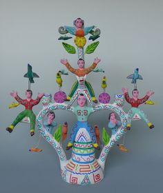 """Mexican Puebla Tree of Life ceramic candelabra HERON MARTINEZ MENDOZA 21"""" tall"""