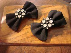 Wonderful Crepe & Rhinestone 1950s Black Shoe Clips by joysshop, $11.95