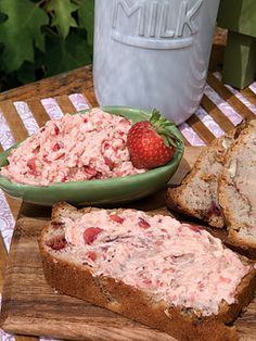 strawberry bread - This bread recipe really looks good. Serve it with this strawberry butter from the same website - 2 tablespoons powdered sugar, 1/2 cup butter, softened, 3 strawberries, hulled and finely chopped. In a small bowl, combine powdered sugar and butter; stir well. Add strawberries and gently fold to combine. Refrigerate until 30 minutes before serving.