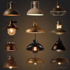 Industrielle Style Rétro Pendentif Lumières Vintage Pendentif Lampe Lampe Suspendue avec E27 Led Ampoule Dormitorio Salle À Manger Cuisine Bar
