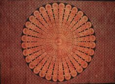 "Sanganeer Mandala Cotton tapestry or tablecloth 85"" x 64"" Burnt Orange"