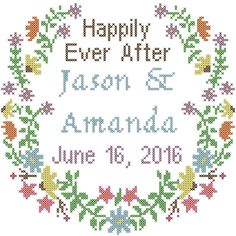 Modern Wedding Cross Stitch Pattern Floral Border with Happily Ever After, Names & Date by oneofakindbabydesign on Etsy