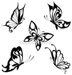 Downloaden - Zwart witte vlinders van een tattoo instellen — Stockillustratie #4669772