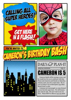 Super Hero Photo Invitation Birthday Party by thepattycakepress, $20.00