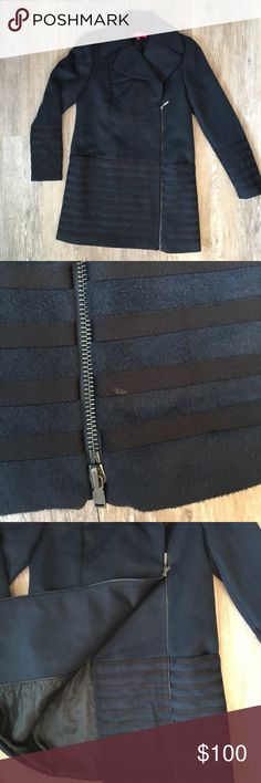 """Catherine Malandrino Winter Coat In excellent condition Catherine Malandrino winter coat with no major flaws. There's one minor mark at the bottom of the Jacket, next to the zipper (shown in photo above). This jacket is heavy and will keep you warm! Plus the zipper has two zippers to create a closed and open look. Color is navy and black. 35"""" long. 18"""" pit to pit. 63% polyester 32% viscose 5% elastane. Catherine Malandrino Jackets & Coats"""