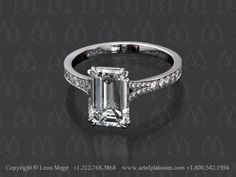 Emerald Cut Engagement Ring - r1311