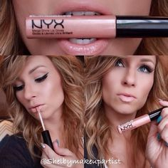 """One of my favorite lipglosses by @nyxcosmetics in """"sugar pie"""" it's the perfect nude gloss . Brows by @anastasiabeverlyhills, also used her contour kit to contour. No shadow for me today just @maccosmetics pro long wear concealer topped with nyc transluce"""