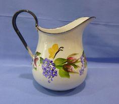 Hand Painted Vintage White Enamel Metal Creamer Pitcher Vase Pink Roses Purple…