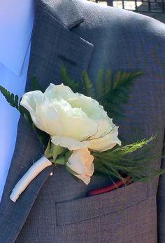 White Garden Rose Boutonniere white sweetheart & spray rose boutonniere designedpennie's