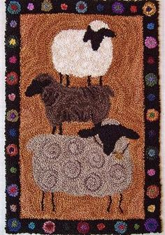 Wool Applique,Punchneedle,Perle Cotton Thread -Three Sheep Studio