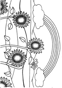 Beautiful rainbow and sun flowers coloring pages | BubaKids.com