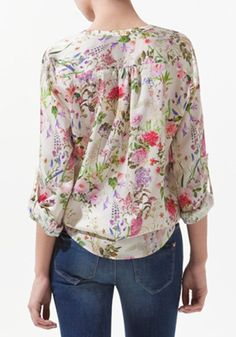Multicolor Floral V-neck Long Sleeve Chiffon Blouse