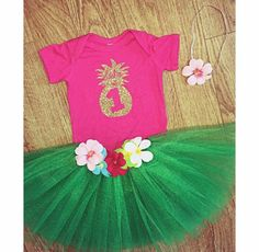 Baby luau tutu grass skirt Hawaiian first birthday outfit personalized pineapple onesie