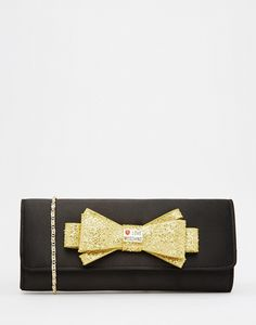 Love Moschino Satin Clutch with Gold Embellished Bow saved by Moschino, Create Your Own, Satin, Bows, Accessories, Arches, Bowties, Satin Tulle, Bow
