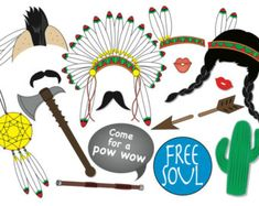 American Indian Photo Booth Party Props Set 15 par TheQuirkyQuail
