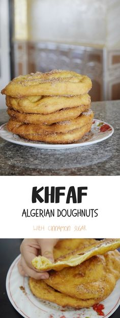Khfaf - Algerian doughnuts; spongy fried bread rounds topped with cinnamon sugar. Good breakfast or Afternoon treat fare.