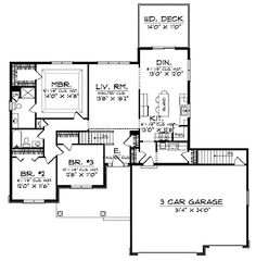 Home Plans HOMEPW01581 - 1,636 Square Feet, 3 Bedroom 1 Bathroom Country Home with 3 Garage Bays