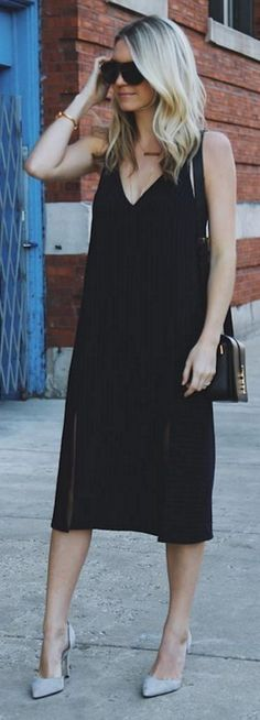 #spring #summer #street #style #outfitideas | Midi Black Dress + Grey D'orsay Pumps | Somewhere Lately