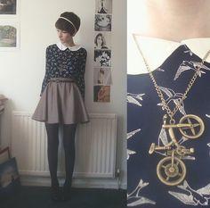 Top (Dress Worn As Top), Skirt, Bike Necklace