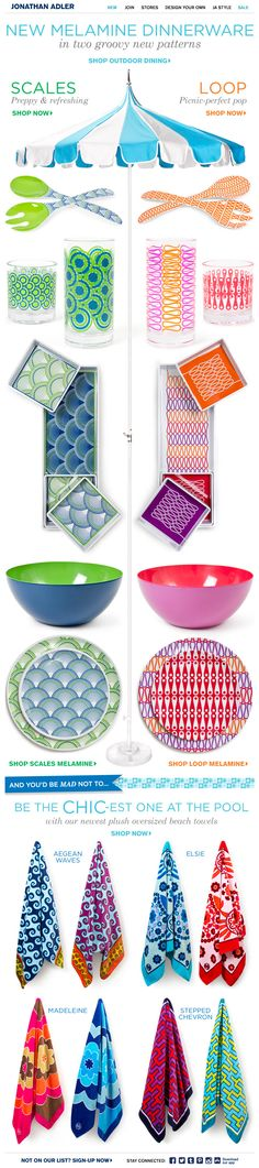 This email from Jonathan Adler uses contrasting colours, symmetrical repetition and balance to successfully promote their outdoor dinnerware in two new patterns. Outdoor Dinnerware, Email Design Inspiration, Email Marketing Design, Swipe File, Best Email, Jonathan Adler, Box Design, Glamping, Colours