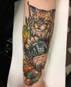 Lynx With A Cabin Snow Globe by @filthyswede at Buzzstop 28 in Gothenburg Sweden. #lynx #cat #cattattoo #cabin #snowglobe #filthyswede #buzzstop28 #gothenburg #sweden #tattoo #tattoos #tattoosnob