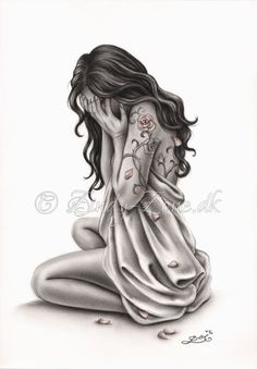 Pétalos de tristeza triste llorando mujer Rose Tattoo Art