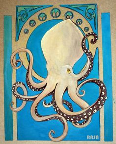 I stayed up till to finish this for my art class. gouache on cardboard Art nouveau octopus Cthulhu, Octopus Squid, Octopus Art, 1 Tattoo, Tatoo Art, Le Kraken, Illustrations, Illustration Art, Art Nouveau