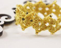 Crochet beaded Bracelet, Yellow Bracelet with glass beads, Crochet Cuff Bracelet
