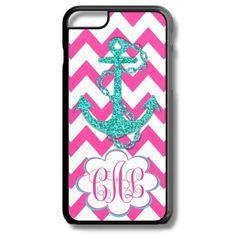 Hot Pink Chevron Aqua Anchor Monogram Iphone 6/6s Case Plus 5c 5/5s 4/4s Personalized Custom Cover Zig Zag