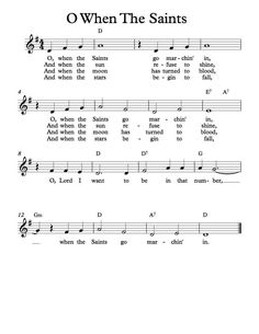 Free Sheet Music - Free Lead Sheet - O When The Saints Go Marchin' In - African American Spiritual Bible Songs, Piano Songs, Guitar Songs, Acoustic Guitar, Easy Piano Sheet Music, Free Sheet Music, Accordion Sheet Music, Beginner Piano Music, Saxophone Sheet Music