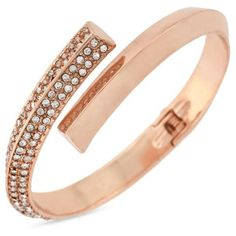 Bcbgeneration Rose Gold Rose-Gold Crystal Overlap Bracelet ($28) ❤ liked on Polyvore featuring jewelry, bracelets, accessories, rings, rose gold, rose gold jewellery, clear jewelry, rose gold jewelry, clear crystal jewelry and crystal bangle