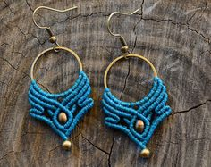 Turquoise macrame earrings with brass beads. by ARTofCecilia