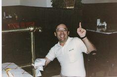 Joe Tortorice Jr., founder of Jason's Deli, polishing brass in the 1980s.