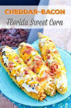 Grilled Cheddar-Bacon Florida Sweet Corn Recipe #FreshfromFlorida #IC AD