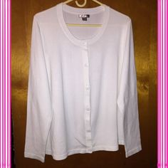 Cardigan Sweater White fine gauge kit sweater.  Tried on once. Very good condition. White Stag Sweaters Cardigans