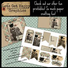 Primitive Halloween cat and witch card, gift tag, page flags, banner and labels. Grungy fall plaid paper. So cute!!! Lets Get Happy Graphics.