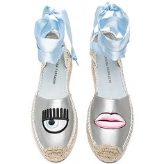 Chiara Ferragni Ankle Tie Espadrille (€295) ❤ liked on Polyvore featuring shoes, sandals, flats, espadrille sandals, leather espadrille flats, braided leather sandals, platform sandals and woven leather sandals