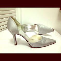 Stuart Weitzman Silver Satin High Heels Shoes Sz