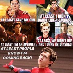 Tom Holland is the best Spider-Man. Andrew Garfield is okay. What's-his-face SUCKS. Funny Marvel Memes, Dc Memes, Marvel Jokes, Avengers Memes, Marvel Dc Comics, Marvel Avengers, Funny Memes, Captain Marvel, Captain America