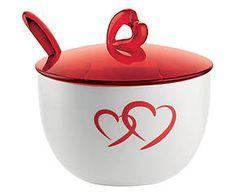 Zuccheriera con cucchiaino Love rosso - 200 cl