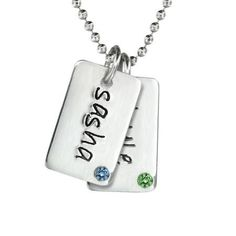 Two Birthstone Mini Dog Tags Necklace - Celebrity Mom's Jewelry designs at My Retro Baby is simple and stylish! These pendants are personalized with the names of loved ones. Made from the finest precious metals and designed to wear out on the town or simply taking the kids to school.