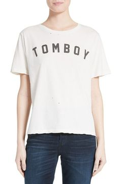 Free shipping and returns on AMO Tomboy Graphic Tee at Nordstrom.com. Raw hems and tiny holes contribute to the soft, lived-in vibe of this slightly oversized cotton tee printed with a playful nod to the grown-up gamine.