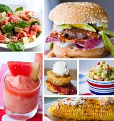 Summertime BBQ vegan friendly foods.  that bbq mushroom burger looks sooo good.