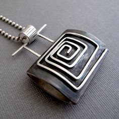 Pendant   Nina Gibson.  Sterling and oxidized silver. - cool bail