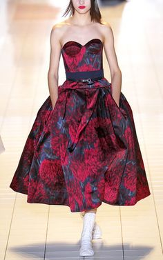 Rochas Abstract Floral Bustier Dress