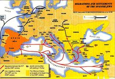 """A map showing migrations and settlements of the Spanish Jews. Credit: Wikipedia. Read more on the GenealogyBank blog: """"DNA Testing & Genealogy: Is It Working for You?"""" http://blog.genealogybank.com/dna-testing-genealogy-is-it-working-for-you.html"""