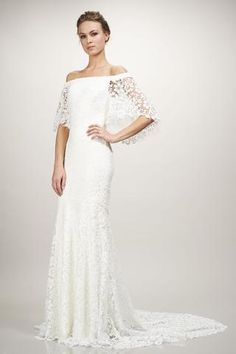 Sasha - #890432 - Off-the-shoulder cotton Guipure lace gown with flowy bell sleeves